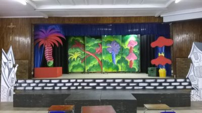 The set from the play Seussical Jr. Designed by teachers for the school play, shout out to teachers